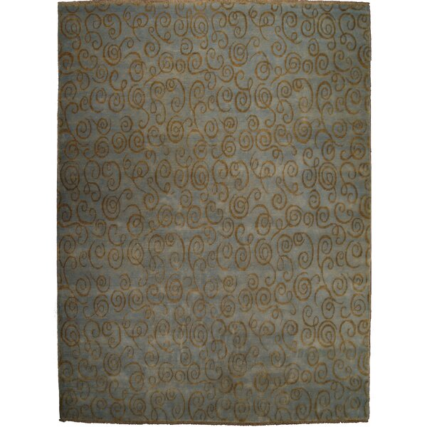 Metropolitan Hand-Knotted Wool Blue/Gold Area Rug by Exquisite Rugs