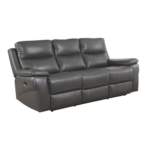Faulks Leather Reclining Sofa by Red Barrel Studio
