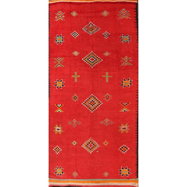 Brunswick Morocco Oriental Vintage Wide Hand-Knotted Wool Red/Burgundy Area Rug by Bloomsbury Market