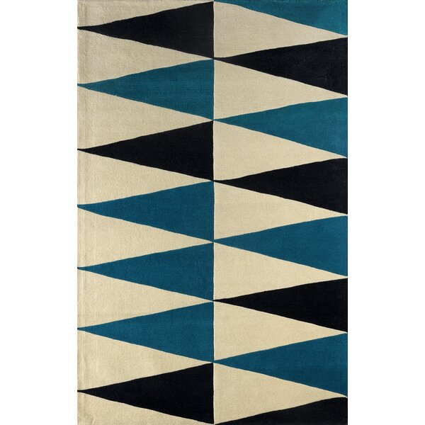 Hisle Hand-Tufted Teal/Cream Area Rug by Brayden Studio