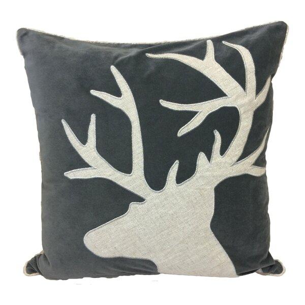 Norco Reindeer Shiny Linen Applique Velvet Throw Pillow by Loon Peak