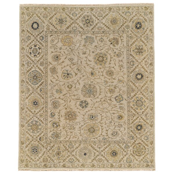 Kondo Hand-Knotted Wool Sand Area Rug by Alcott Hill