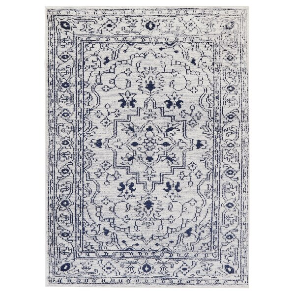 Buchan Medallion Beige/Navy Area Rug by Charlton Home