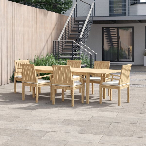 Anthony 7 Piece Teak Dining Set with Cushions by Foundstone