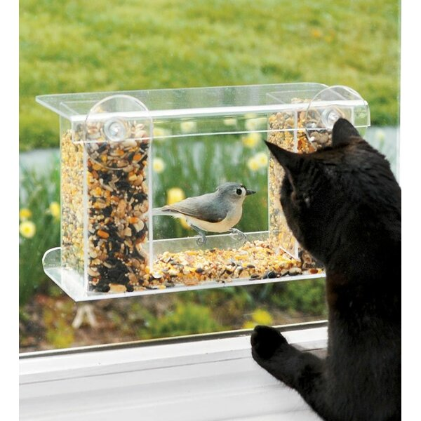 Window-Mount See-Through Tray Bird Feeder by Plow