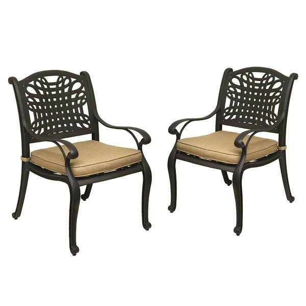 Campion Patio Dining Chair with Cushion (Set of 2) by Fleur De Lis Living