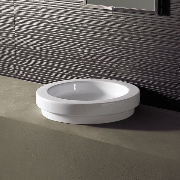 Area Boutique Ceramic Circular Drop-In Bathroom Sink by Bissonnet