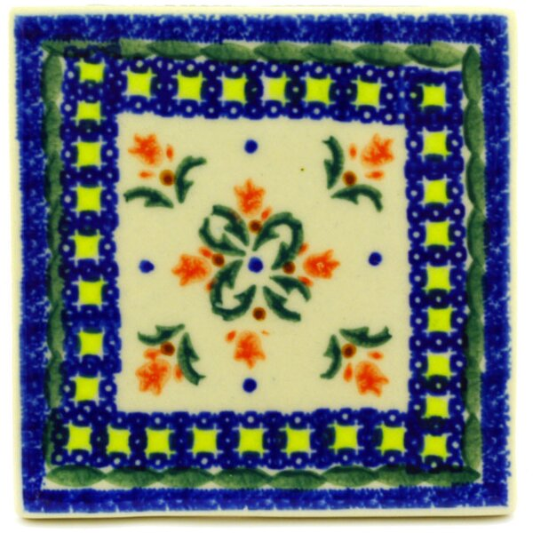 Cocentric Tulips 4.37 x 4.37 Ceramic Polish Pottery Decorative Accent Tile by Polmedia