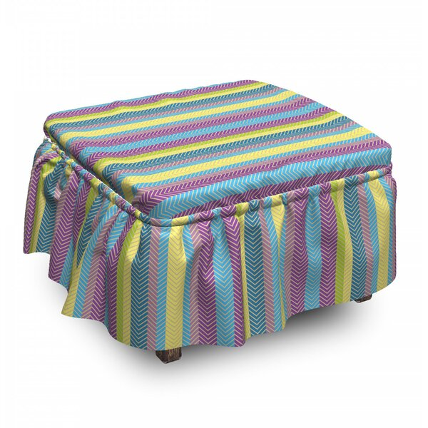 Zigzag Lines Ottoman Slipcover (Set Of 2) By East Urban Home