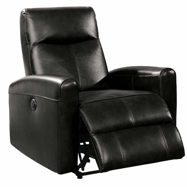 Baggett Leather Power Recliner by Latitude Run