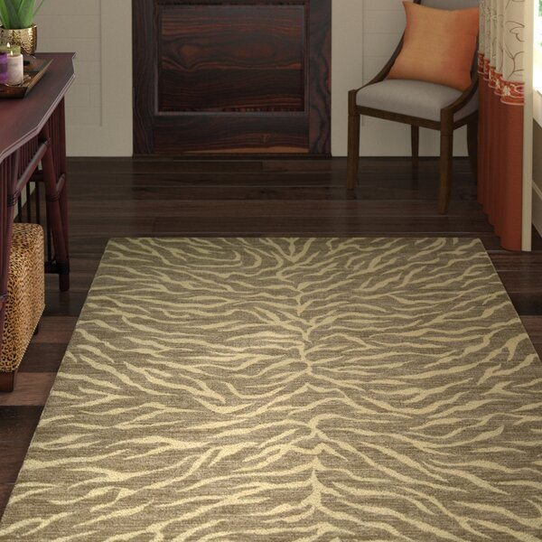 Glendale Fur Chocolate/Beige Rug by World Menagerie