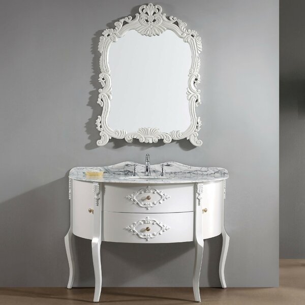Polak 47.3 Single Bathroom Vanity Set with Gray Top and Mirror by One Allium Way