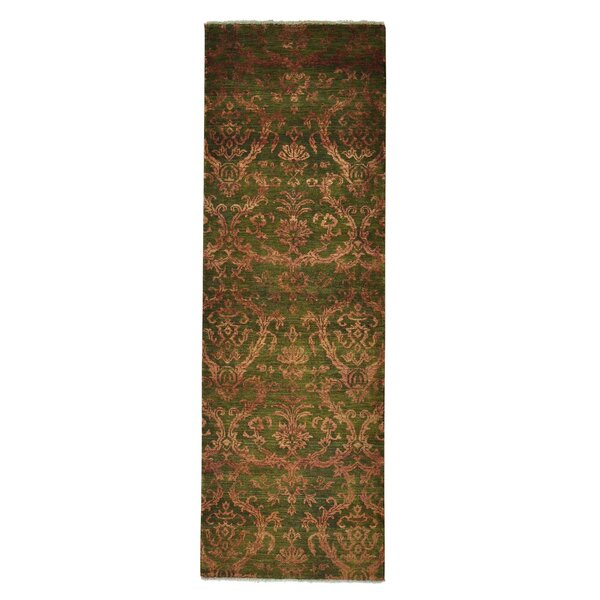One-of-a-Kind Walsall Damask Tone on Tone Hand-Knotted Green Area Rug by Rosdorf Park