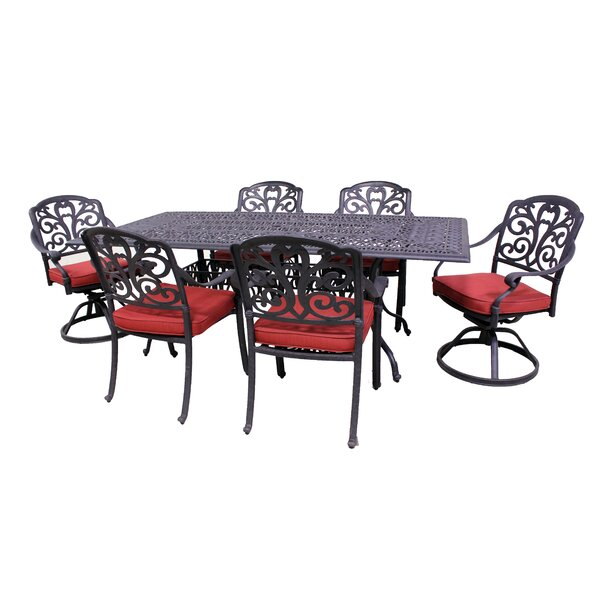 Thurston 7 Piece Dining Set with Cushions by Fleur De Lis Living
