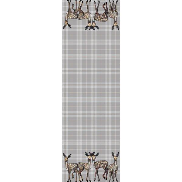 Fenugreek Dancing Deer on Plaid Kitchen Mat