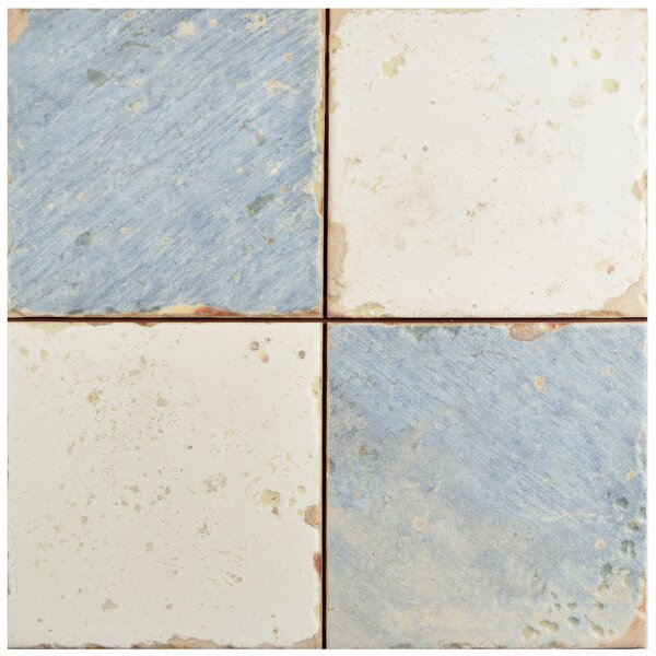 Artisanal 13 x 13 Ceramic Field Tile in Damero Azul by EliteTile