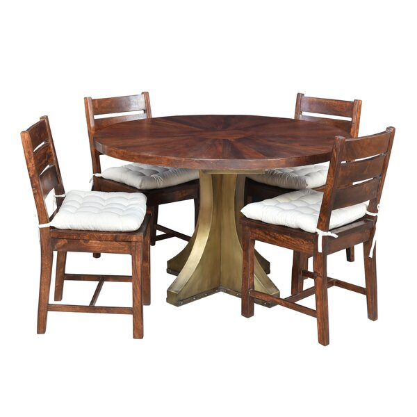 Valerie 5 Piece Solid Wood Dining Set by Loon Peak