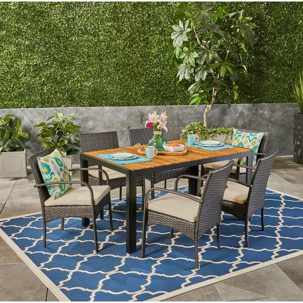 Monteiro Outdoor 7 Piece Dining Set with Cushions by Gracie Oaks