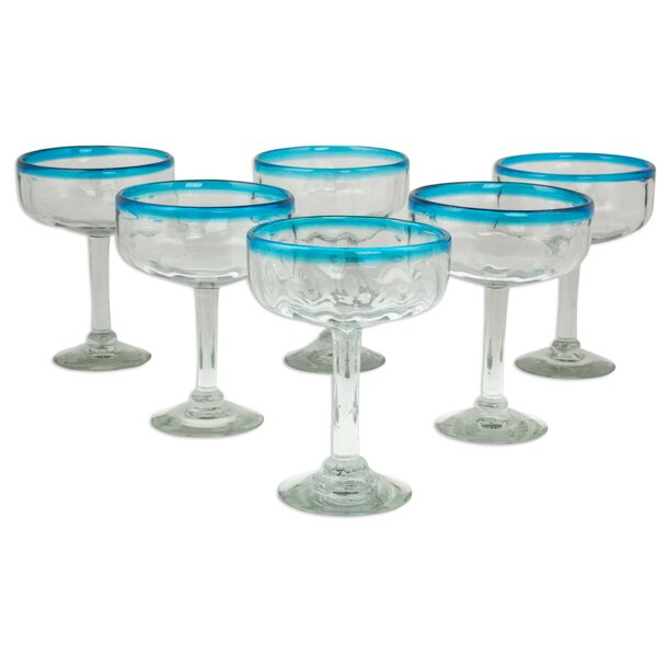 Javier and Efrén 8 Oz. Margarita Glass (Set of 6) by Novica