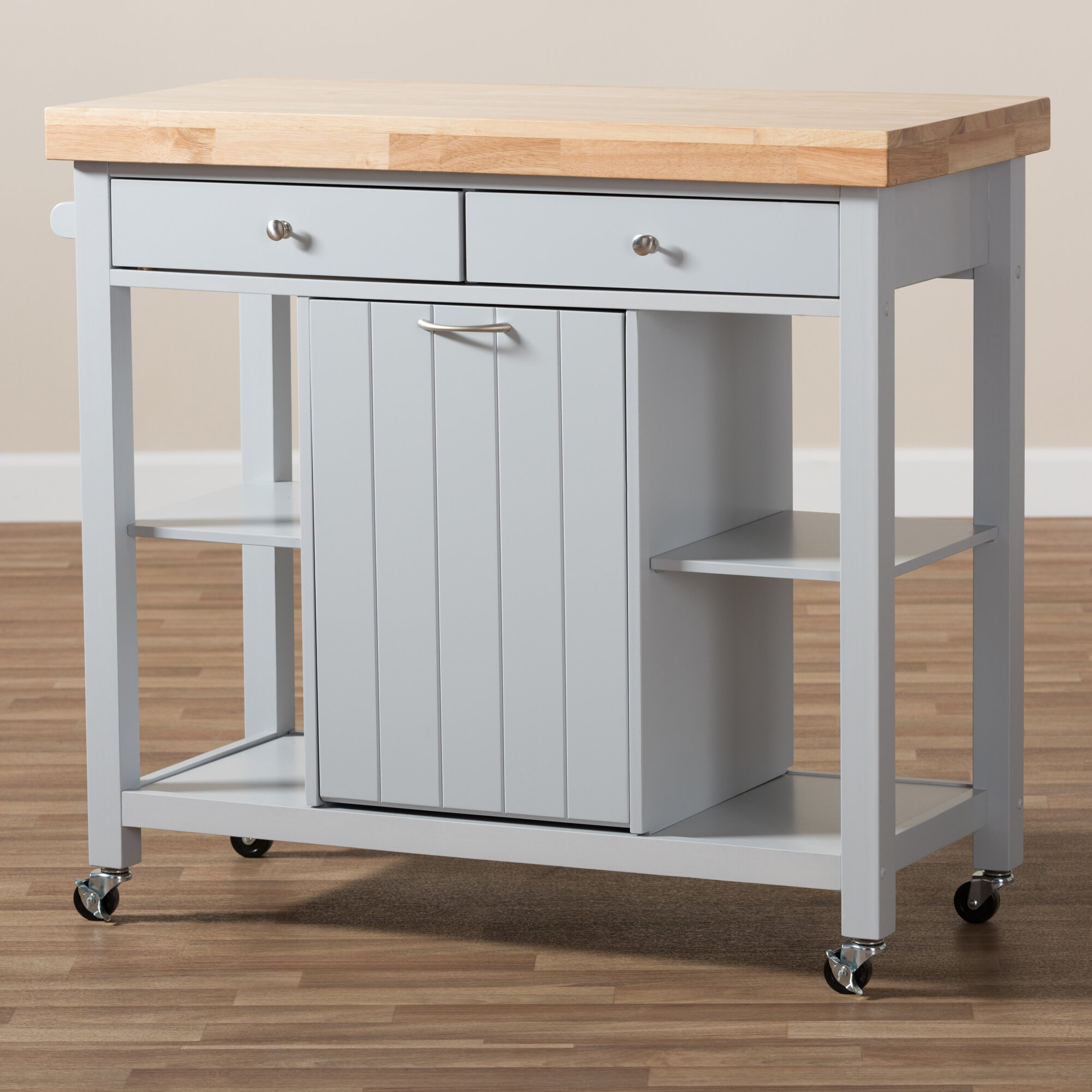 Gracie Oaks Witkowski Homer Kitchen Cart with Wood Top & Reviews ...