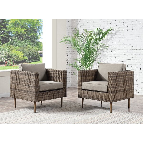 Carly Patio Chair with Cushion (Set of 2) by Bungalow Rose