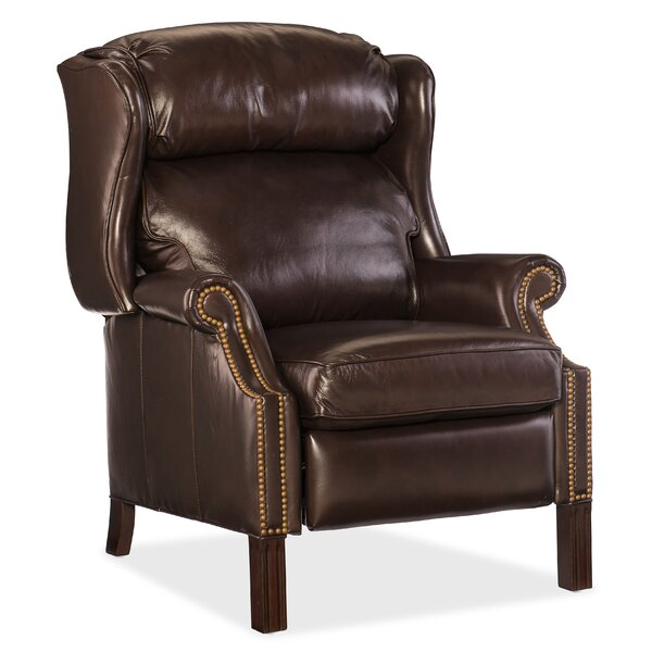 Trudy Leather Manual Recliner Red Barrel Studio W002584976