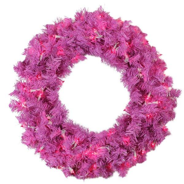 36 Lighted Artificial Pink Cedar Pine Christmas Wreath by Northlight Seasonal