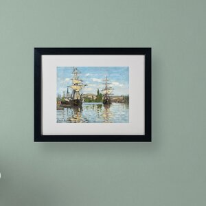 Ships Riding On the Seine by Claude Monet Matted Framed Painting Print by Trademark Fine Art