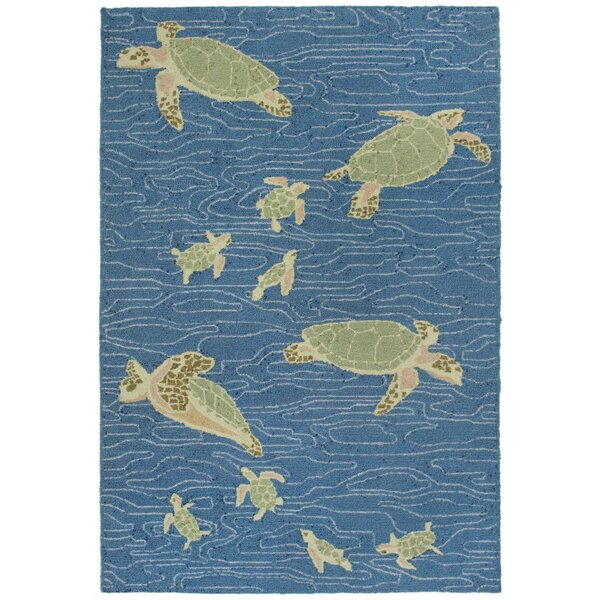 Nancee Seaturtles Hand-Tufted Blue Indoor/Outdoor Area Rug by Highland Dunes