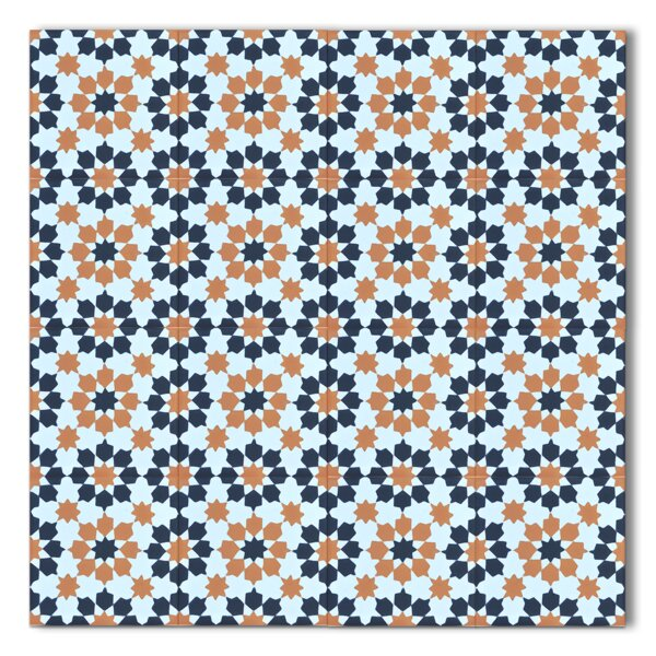 Ahfir 8 x 8 Handmade Cement Tile in Multicolor by Moroccan Mosaic