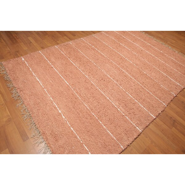 One-of-a-Kind Lisle Hand-Knotted Cotton Orange Area Rug by Rosecliff Heights