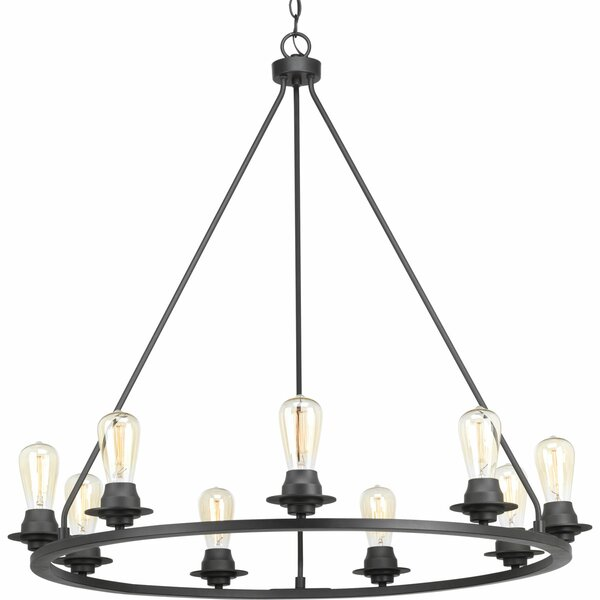 Miesha 9-Light Wagon Wheel Chandelier by Williston