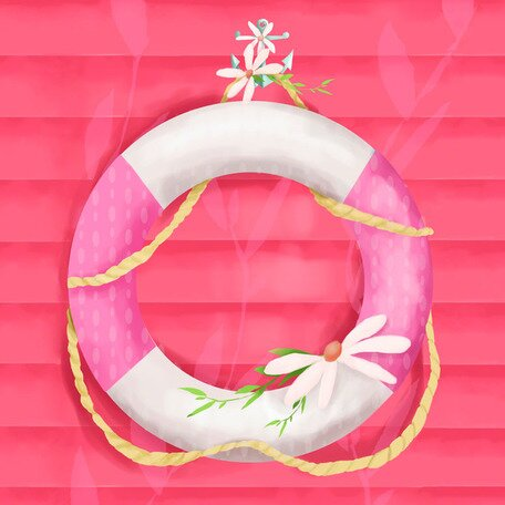 Ring Floatie Pink Canvas Art by Oopsy Daisy