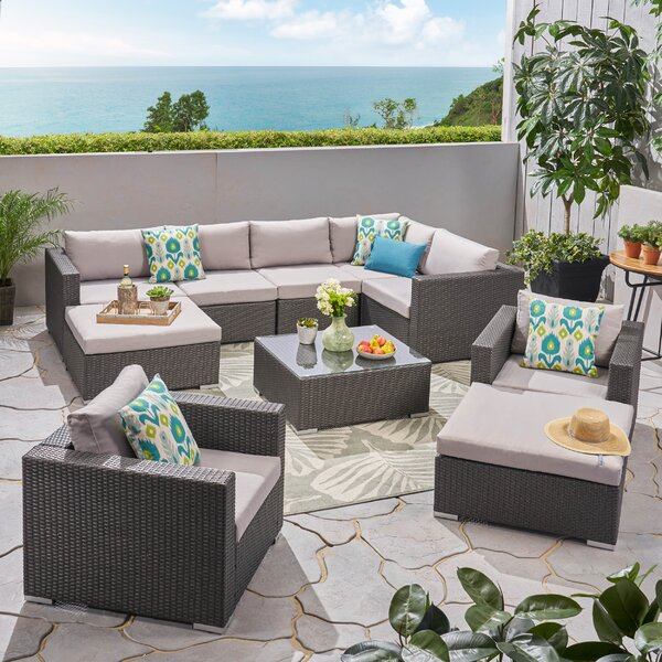 Cabral 10 Piece Sectional Seating Group with Cushions by Sol 72 Outdoor