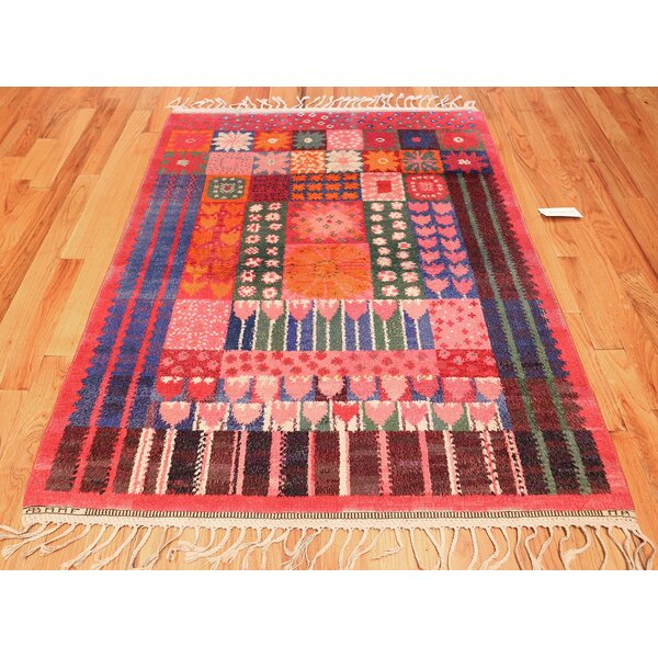 One-of-a-Kind Scandinavian Hand-Knotted 1950s Scandinavian Orange 4'6 x 5'8 Wool Area Rug