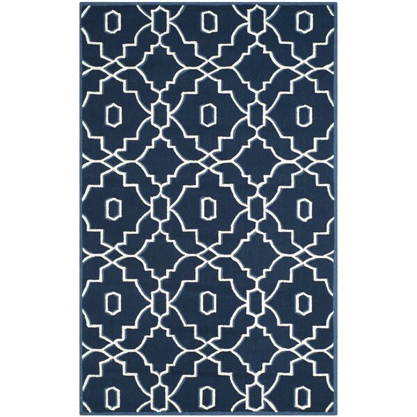 LaMoure Hand-Hooked Navy/Ivory Indoor/Outdoor Area Rug