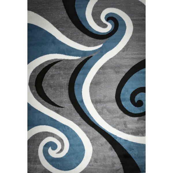 Blacksmith Swish Blue/Gray Area Rug by Winston Porter