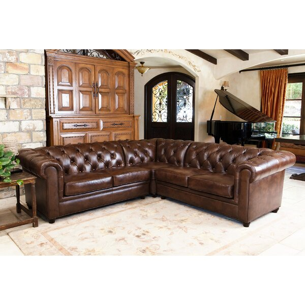 Shop Fashion Lapointe Symmetrical Leather Sectional by Darby Home Co by Darby Home Co