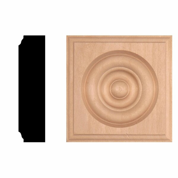 7/8 in. x 3-1/2 in. x 3-1/2 in. Hardwood Rosette Block Moulding by Manor House