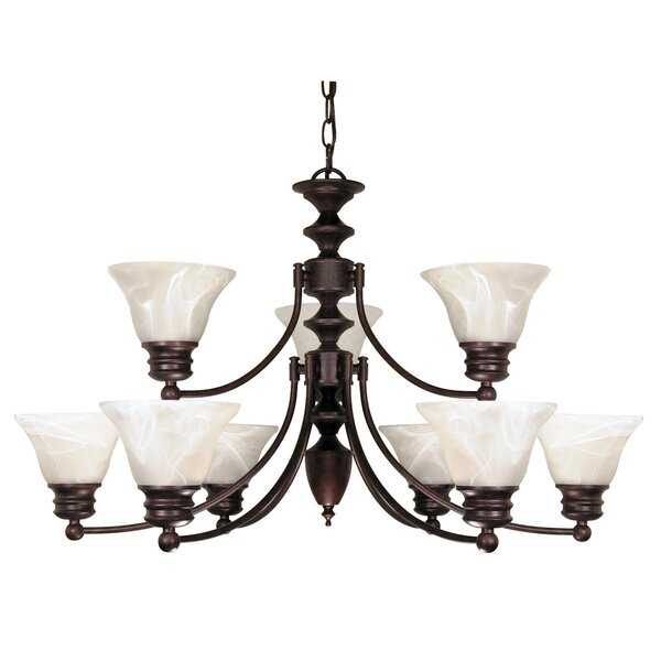 Poneto 9-Light Shaded Tiered Chandelier by Charlton Home Charlton Home