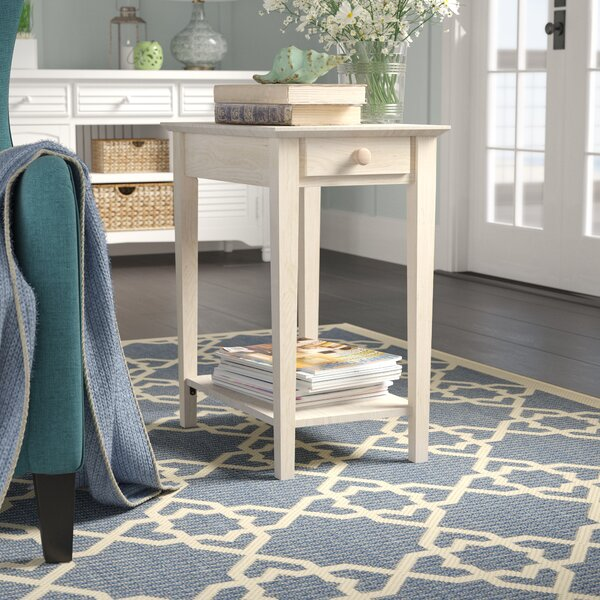 Review Wembley Solid Wood 4 Legs 1 Drawer End Table