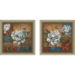 Floral Medley' 2 Piece Framed Acrylic Painting Print Set Under Glass by Astoria Grand