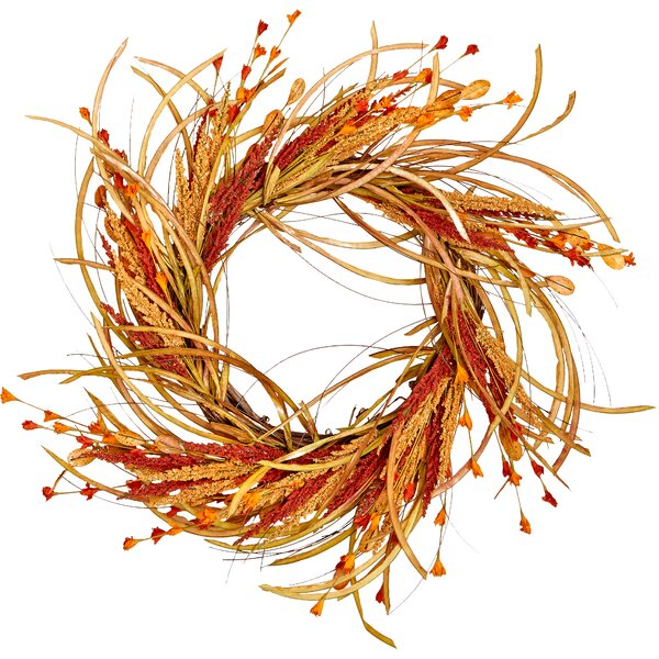22 Fall Grass and Flower Wreath by August Grove