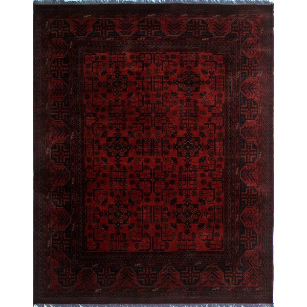 One-of-a-Kind Abeyta Tribal Hand-Knotted Rectangle Red Geometric Area Rug by Isabelline