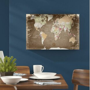 World map wayfair world map with cork back graphic art on canvas by lanakk gumiabroncs Choice Image