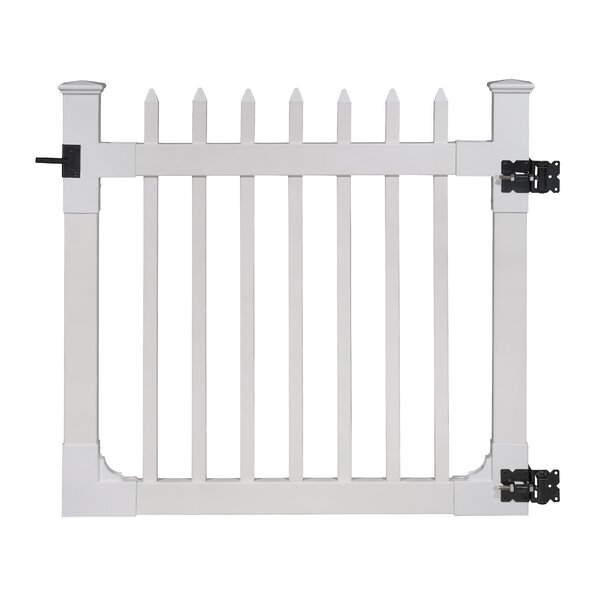 4 ft. H x 4 ft. W Nantucket Vinyl Picket Gate with Stainless Steel Hardware by Wam Bam No-Dig Fence