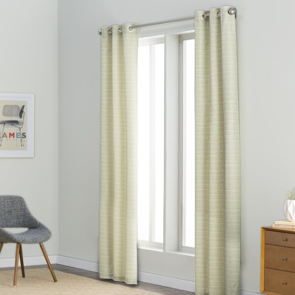 Faye Striped Room Darkening Thermal Grommet Curtain Panels (Set of 2) by Langley Street