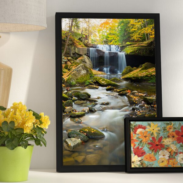 Centerville Mill Falls Autumn Vertical Framed Photographic Print by Red Barrel Studio
