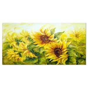 'Bright Yellow Sunny Sunflowers' Photographic Print on Wrapped Canvas by Design Art
