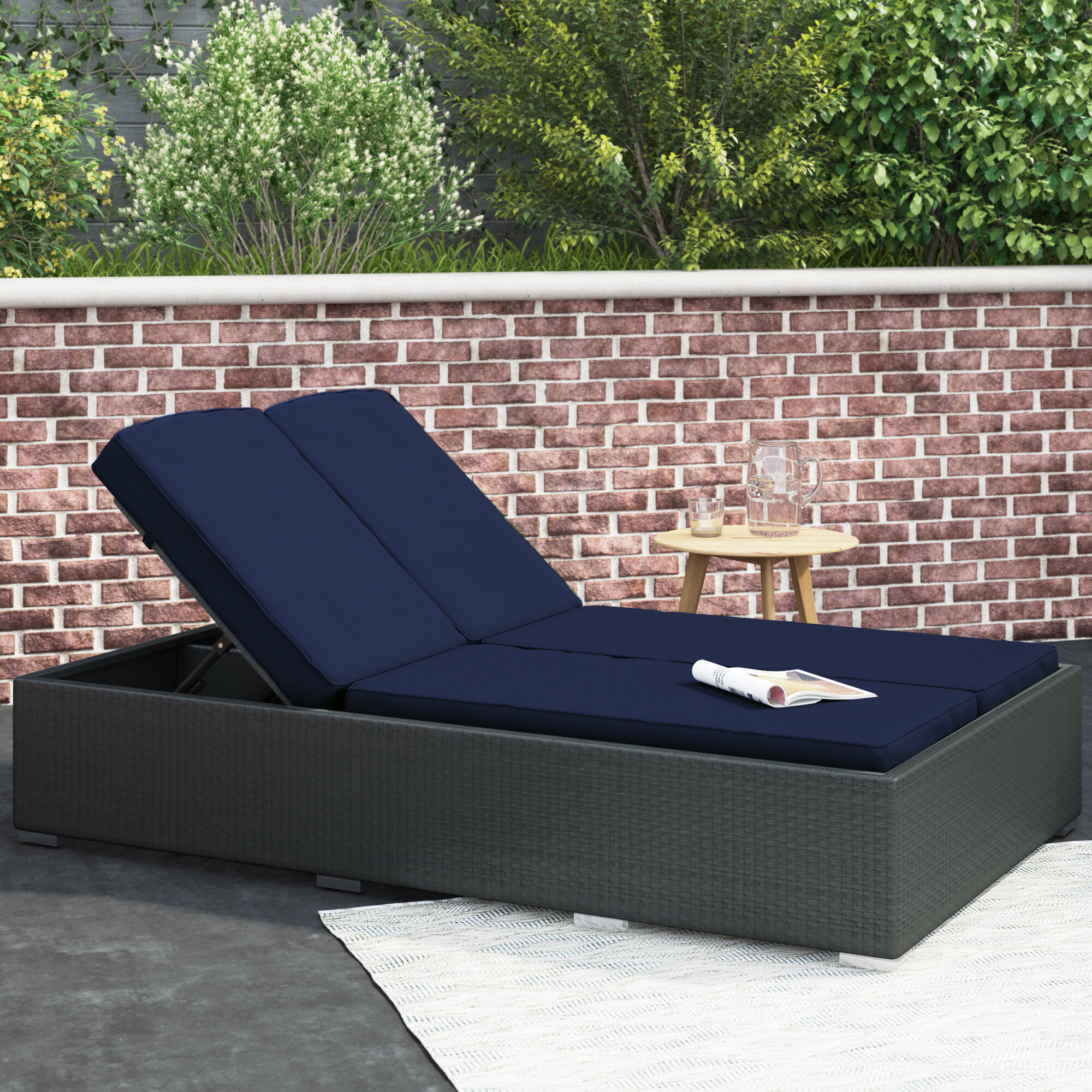 - Brayden Studio Tripp Double Reclining Chaise Lounge With Cushion